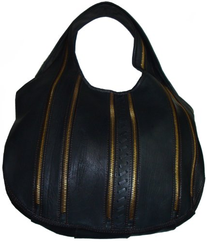 ORYANY Women's Large Hobo Handbag, Black Accented With Zippers