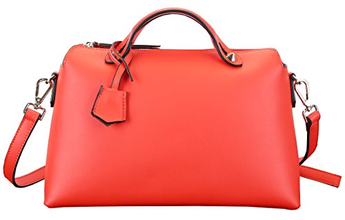Heshe Genuine Leather Office Lady New Fahion Vintage Top Handle Tote Crossbody Shoulder Bag Satchel Zippered Closure Purse Handbag for Women