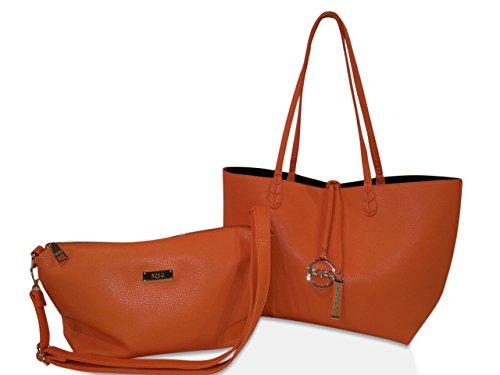 Bcbg Paris Convertible Reversible Handbags Orange/black, Bcbgmaxazria Group Handbags , Purse,vegan Leather Bags, Women Everyday Faux Leather Handbag Shoulder Bag Double Top Handle Hand Bags Weekender Satchel, Amazing Gift for Christmas
