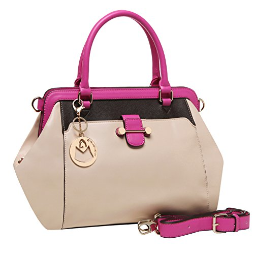 MG Collection KAELY Top Handle Doctor Style Satchel Purse – Beige w/ Pink Trim