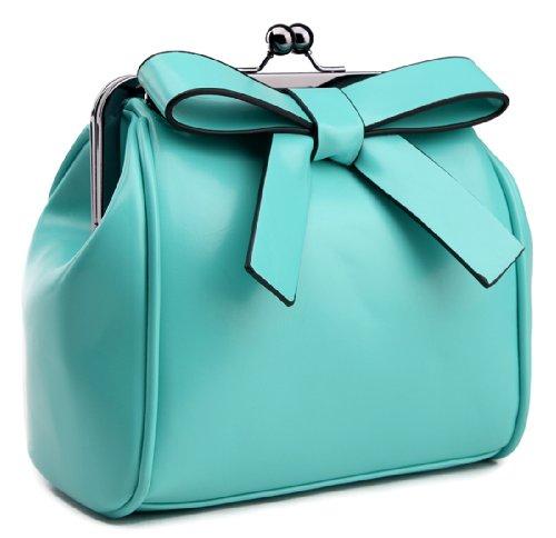 Heshe Women's Pu Bowknot Doctor Style Tote Cross Body Shoulder Bag Satchel Handbag
