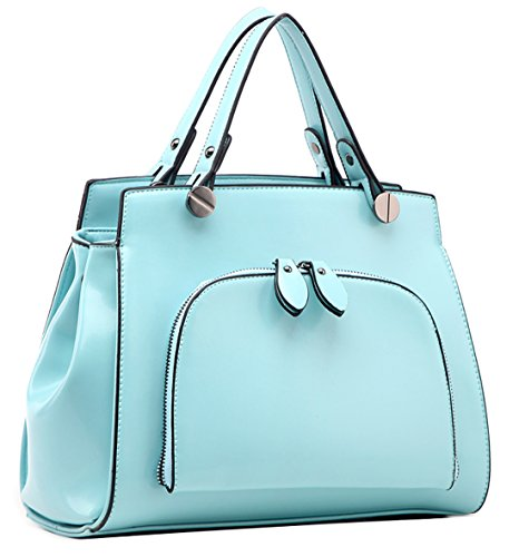 Heshe Pu Faux Leather Candy Color Cross Body Shoulder Bag Satchel Handbag for Women