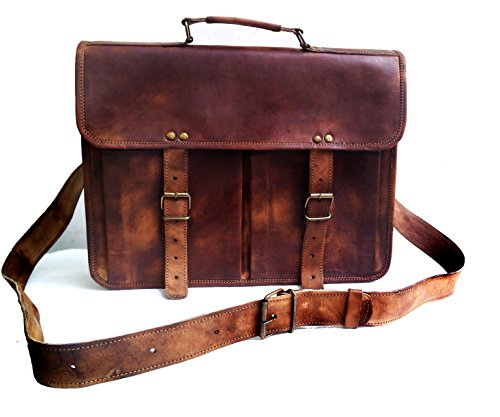 Jaald Leather Messenger Satchel Shoulder Laptop Bags for Men and Women 13 15 and 17 Inch Macbook and Laptops with Ipad Pockets