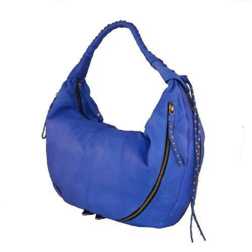 Oryany Blue Leather Jasmine Multi Zip Hobo Large Shoulder Bag Satchel Purse