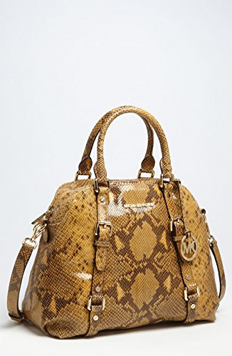 Michael Kors Bowling Bedford Convertible Marigold Python Embossed Leather Satchel Tote Bag
