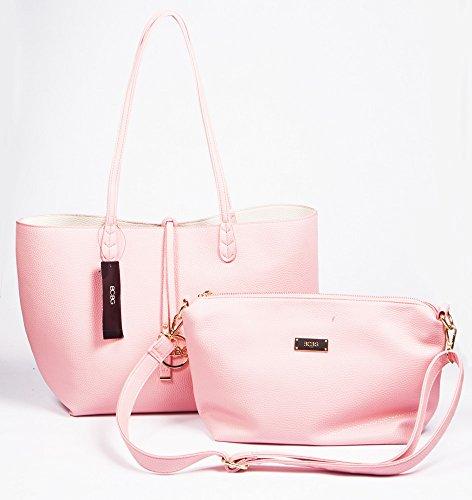 BCBG PARIS Handbag Convertible reversible BaG PINK/OFF WHITE ,Big Size, 2015 collection, available i…