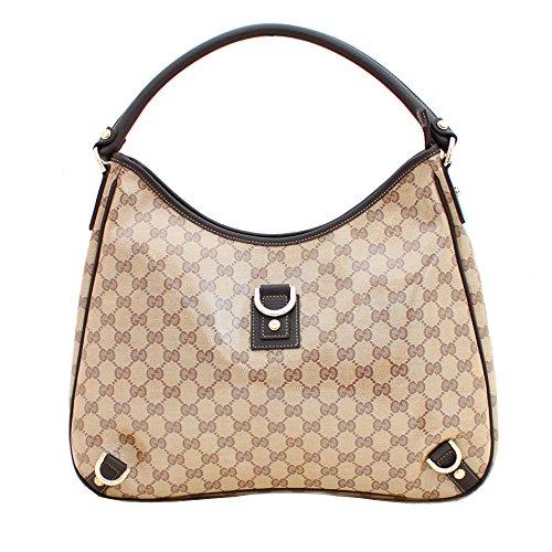 Gucci Large Beige Brown Crystal D Ring Hobo Bag 268636