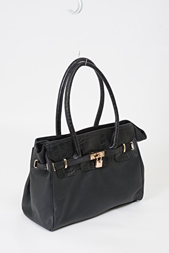 Beaute Bags Jane Padlock Shoulder Handbag Vegan Leather. Medium Sized Satchel with Double Top Handles. Stylish for everyday use, this bag will add urbane elegance to your everyday look. Tall top-handles can be worn as either a shoulder bag or over the arm as a satchel purse. Compliments a professional work wardrobe or adds grace to a dressy casual look. The perfect day bag for tasteful women.