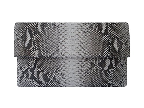 Mystique Genuine Python Snakeskin Leather Foldover Envelope Clutch Bag
