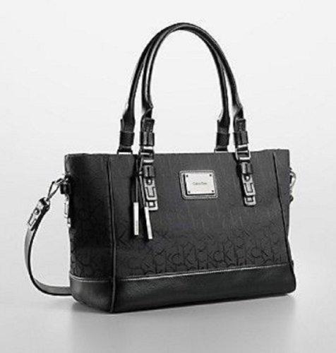 Calvin Klein Womens Logo Jacquard City Shopper Tote Shoulder Bag (Black)