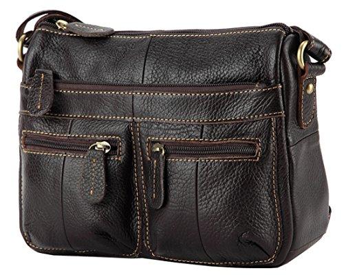 Heshe New Genuine Leather Vintage Casual Double Use Multi Zipper Pocket Crossbody Shoulder Bag Satchel Purse Handbag for Women
