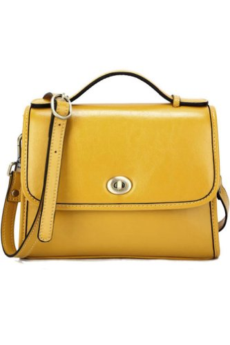 Yellow Refined Genuine Leather Crossbody Top Handle Bag