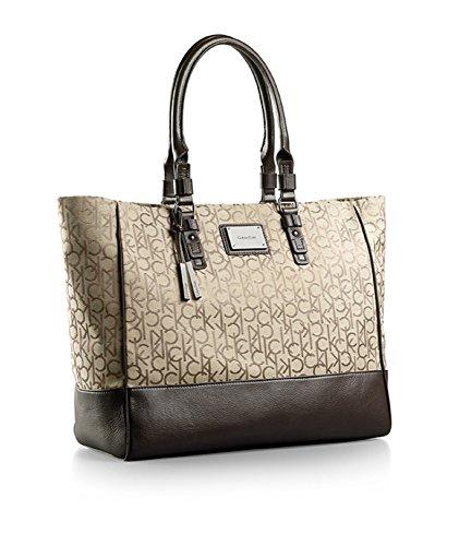 Calvin Klein Logo Jacquard Fabric Shopper Tote Signature Bag Natural