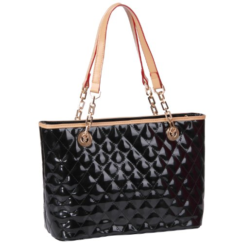 MG Collection LERYN Black Quilted Faux Patent Leather Office Tote Shoulder Bag