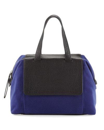 L.A.M.B. Angel Two-Tone Leather / Textile Large Satchel Bag, Blue/Black