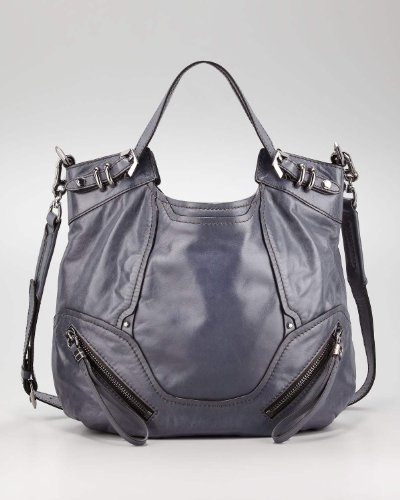 Oryany Slate Grey Leather Large Tegan Shoulder Bag Satchel Purse
