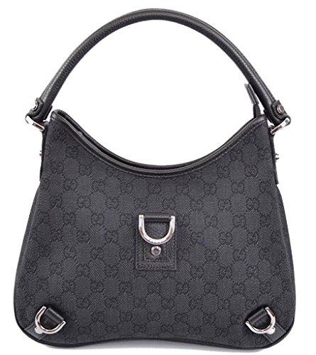 Gucci 268637 Black Denim GG Guccissima D Ring Abbey Purse