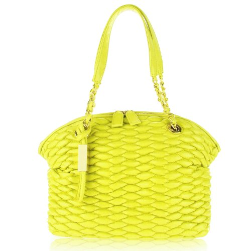 PAOLO MASI Italian Made Lemon Quilted Lamb Leather Designer Shoulder Bag