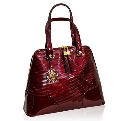 Valentino Orlandi Designer Burgundy Textured Patent Leather Large Bag