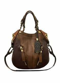 orYANY Victoria Coffee Brown Multi Pebbled Leather Victoria Colorblock Large Hobo Shoulder Bag