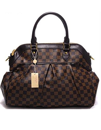 Bushels Handbags Brown Grid Tote Inspired Pu Leather Designer Women's Handbag