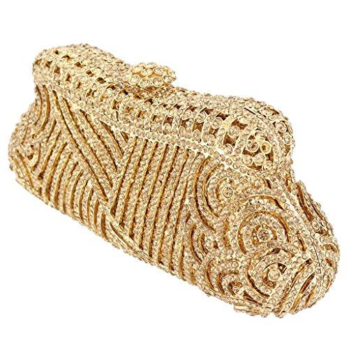 Yahoho Women's Wedding Evening Bag Brown Party Handbag Clutch Crystal Gold-Tone Christmas Gift