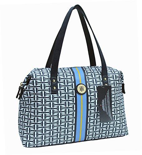 Tommy Hilfiger Faux Leather Satchel Handbag Purse Blue White