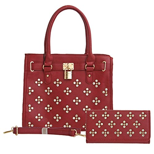 Designer Loem Blink Burgundy Red Lock Rhonestone L Wallet Shoulder Bag Handbag Set