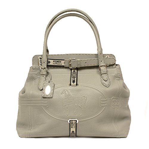Fendi Silver Pebbled Leather Selleria Large Satchel Bag