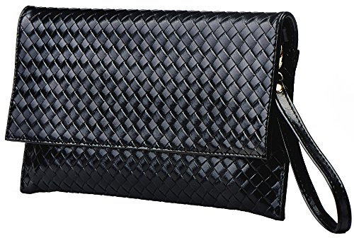 Heshe Lozenge Ultrathin Envelope Genuine Leather Cross Body Shoulder Bag Clutch Handbag