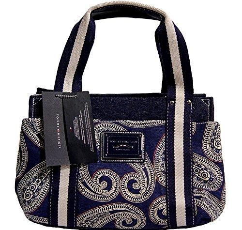 Tommy Hilfiger Blue Paisely Small Tote Bag Handbag Purse