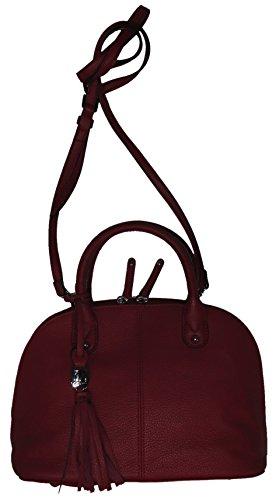 Tignanello Women's Small Genuine Pebble Leather, Mini Dome Tote Handbag, Raspberry