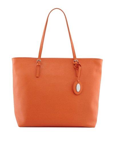 Furla D-Light Saffiano Leather Medium Tote Bag, Orange