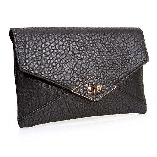 BMC Womens Textured PU Leather Envelope Flap Fashion Clutch Shoulder Handbag