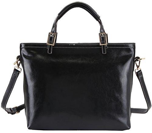 Heshe Ladies 100% Genuine Leather Simple Style Fashion Tote Top Handle Cross Body Shoulder Bag Purse Satchel Handbag for Women