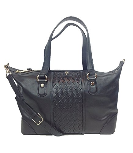 Cole Haan Heritage Weave Leather Archer Satchel Bag, Black