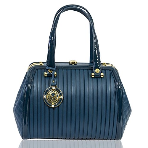Valentino Orlandi Italian Designer Azure Blue Plisse Textured Leather Jeweled Bag