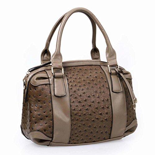 BMC Womens PU Faux Leather Ostrich Pattern Fashion Satchel Shoulder Handbag