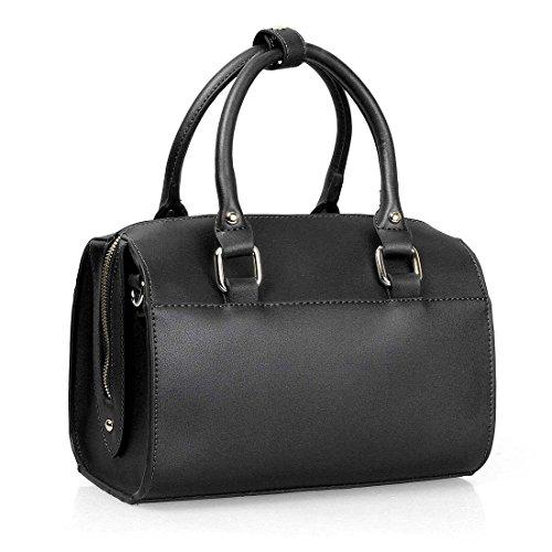 BMC Womens PU Faux Leather Mini Boston Style Top Handle Fashion Shoulder Handbag