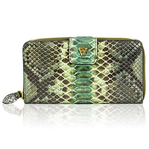 Ghibli Italian Designer Jade Green Python Leather Large Wallet Clutch Purse