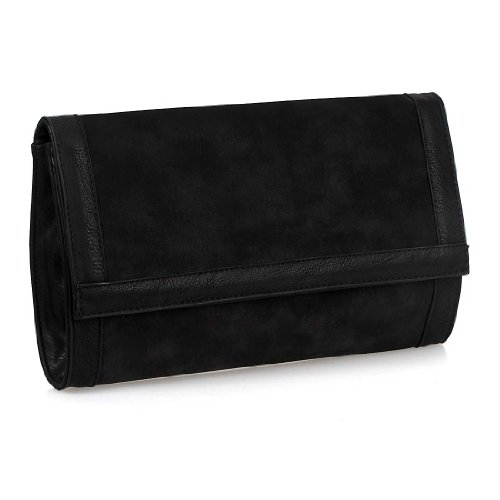 BMC Colored Nubuck PU Leather Envelope Magnetic Clasp Fashion Evening Clutch