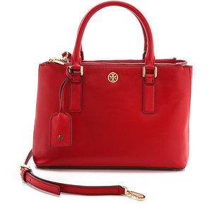 Tory Burch Robinson Mini Double Zip Tote Kir Royale Red Leather Bag Authentic New