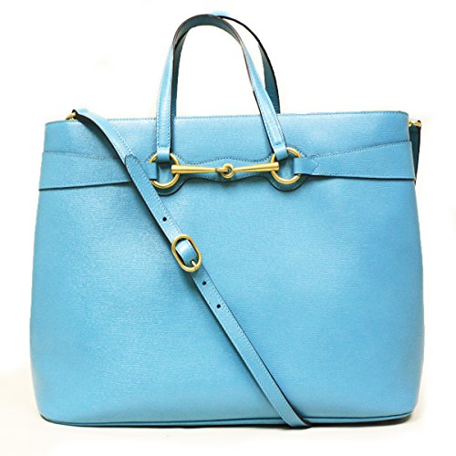 Gucci Horsebit Convertible Tote Blue Leather Handbag