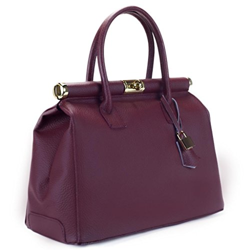 HS 1205 CA MINERVA Made in Italy Burgundy Structured Top Handle Satchel/Shoulder Bag