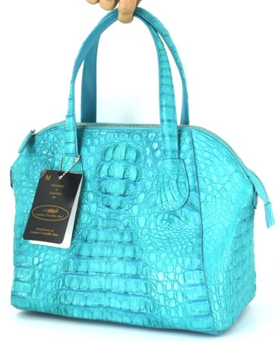 +ThaiPremiumHouse+GENUINE CROCODILE LEATHER HANDBAG CLUTCH BAG PURSE TURQUOISE BLUE NEW