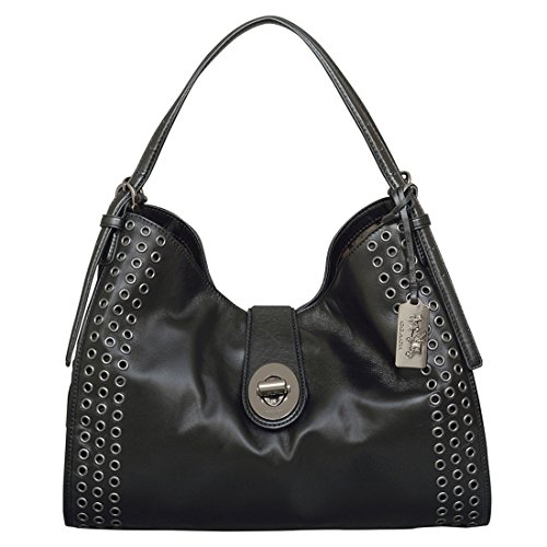 Coach Madison Grommets Carlyle Shoulder Bag in Black