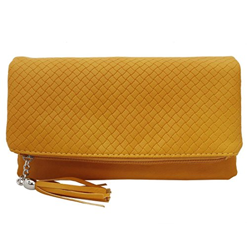 BMC Womens PU Leather Triple Compartment Zipper Tassel Fashion Clutch Handbag