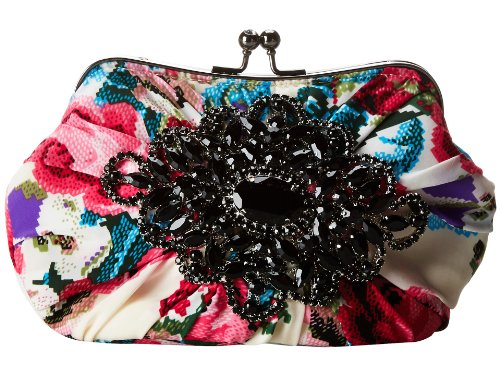Mary Frances White Floral W/black Rhinestone Beaded Brooch Convertible Clutch