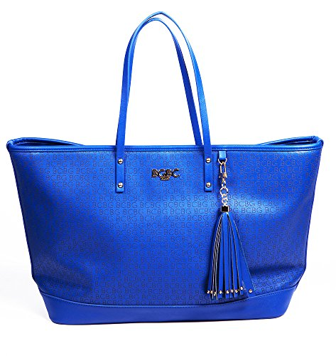 Bcbg Paris Perforated Logo -Tote Bag Blue , Big Size, 2015 Line