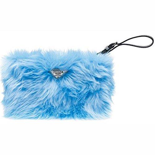 Prada Handbag 1N1530 Eco Pelliccia Faux Fur Wristlet Clutch Bag Purse